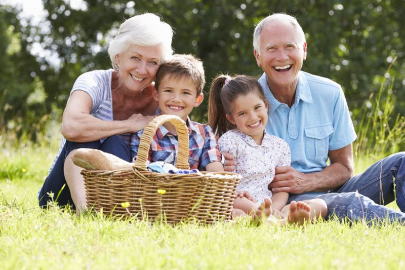 Grandparents With Grandchildren Enjoying Picnic Together